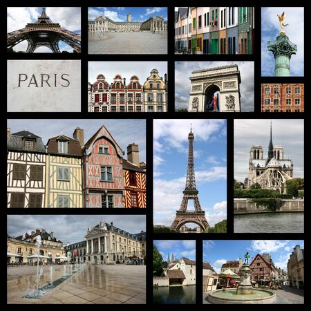travel collage: Travel collage from France. Collage includes famous places like Paris, Amiens, Chartres, Dijon, Lille and Auxerre. Stock Photo