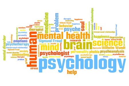serious: Psychology issues and concepts word cloud illustration. Word collage concept. Stock Photo