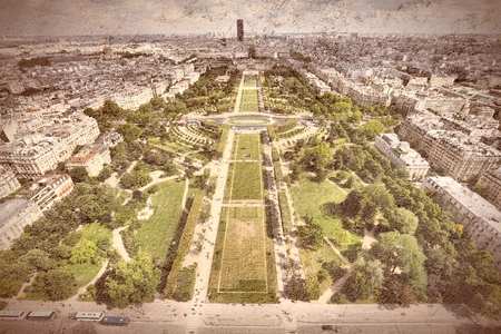 fish eye lens: Paris fish eye lens aerial view - vintage filtered grungy style.