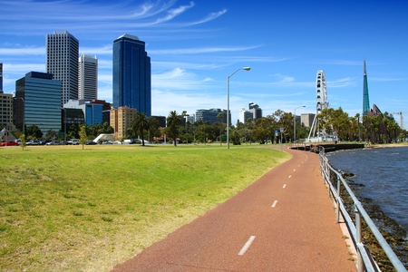 park path: Bicycle path in Perth, Australia. Swan River bank.