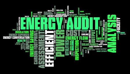 home heating: Energy efficiency audit - power consumption analysis word cloud. Stock Photo