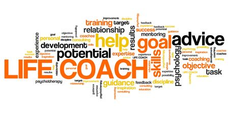 personal development: Life coach - personal development training word collage.