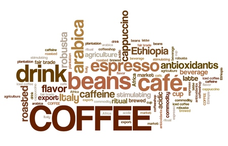 word collage: Coffee word collage illustration. Cafe tag cloud.
