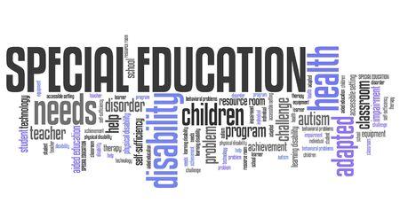 A besoin d'éducation spéciale - handicap aide nuage de mots. Banque d'images