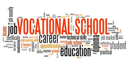 technical term: Vocational school word collage - technical occupation education.