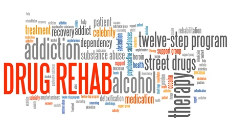 rehab: Drug rehab and drugs addiction word collage.
