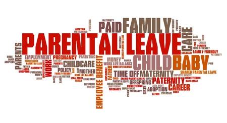 Le congé parental - bébé emploi de soins mot de prestations collage. Banque d'images