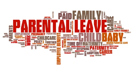 maternity leave: Parental leave - baby care employment benefit word collage. Stock Photo