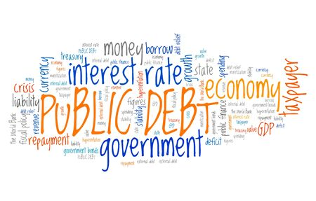 financial crisis: Public debt - national economy financial crisis word collage.