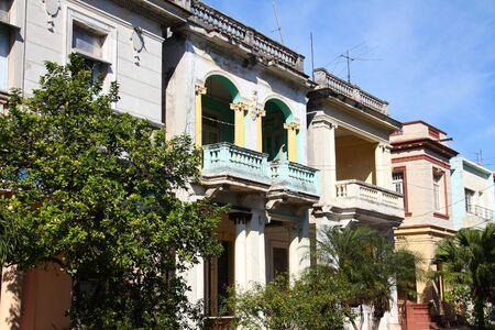 residential street: Havana, Cuba - residential street architecture. Colonial buildings.