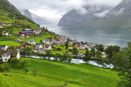 fiord: Norway fiord landscape - Aurlandsfjord, part of Sognefjord. Town of Undredal. Stock Photo