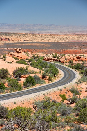 scenic drive: Arches Scenic Drive at Arches National Park, Utah, United States.