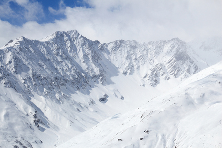 massif: Winter Alps - Massif des Cerces mountain range in Rhone-Alpes region of France. European snow.