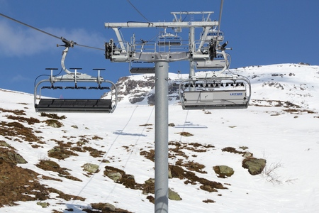 ski runs: VALLOIRE, FRANCE - MARCH 23, 2015: Ropeway chairlift in Galibier-Thabor station in France. The station is located in Valmeinier and Valloire and has 150km of ski runs. Editorial