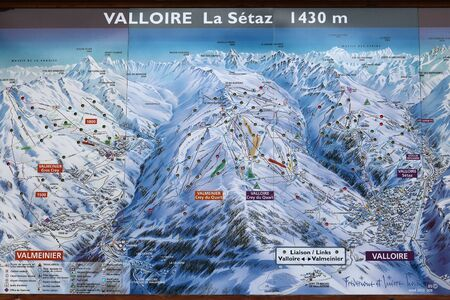 ski runs: VALLOIRE, FRANCE - MARCH 27, 2015: Ski map in Galibier-Thabor station in France. The station is located in Valmeinier and Valloire and has 150km of ski runs.