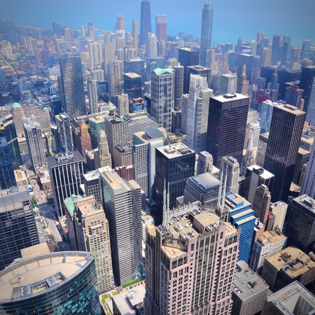chicago city: Downtown Chicago aerial view - modern American city. Stock Photo