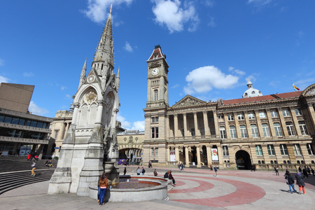BIRMINGHAM, UK - APRIL 19, 2013: People visit Chamberlain Square in Birmingham. Birmingham is the most populous British city outside London with 1,074,300 residents (2011 census). Editorial