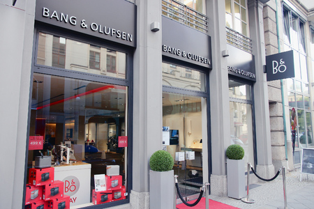 high end: BERLIN, GERMANY - AUGUST 26, 2014: Bang Olufsen electronics store in Berlin. Bang and Olufsen is a Danish high end audio, TV and telephone brand. Editorial