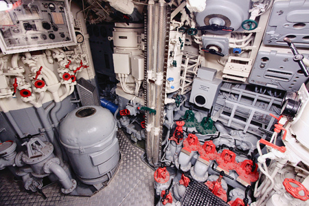 engine room: LABOE, GERMANY - AUGUST 30, 2014: Interior of German submarine U-995 (museum ship) in Laboe. It is the only surviving Type VII submarine in the world. It was launched in 1943.