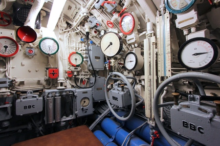 surviving: LABOE, GERMANY - AUGUST 30, 2014: Interior of German submarine U-995 (museum ship) in Laboe. It is the only surviving Type VII submarine in the world. It was launched in 1943.