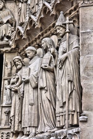notre dame cathedral: Notre Dame cathedral detail in Paris, France. European landmark.