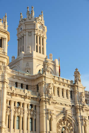 cibeles: Cibeles Palace in Madrid, Spain. The City Hall in Cibeles square in sunset light.