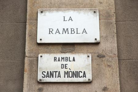 rambla: Barcelona street name - La Rambla de Santa Monica.