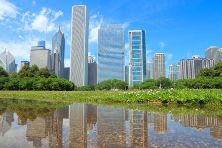 city park skyline: Chicago skyline seen from Grant Park. City in the USA.