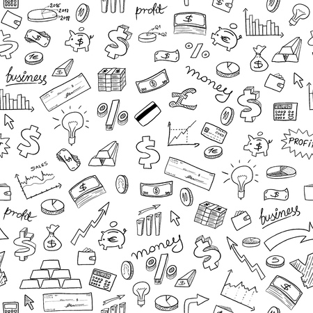 Doodle style seamless background - money, business and finance texture.