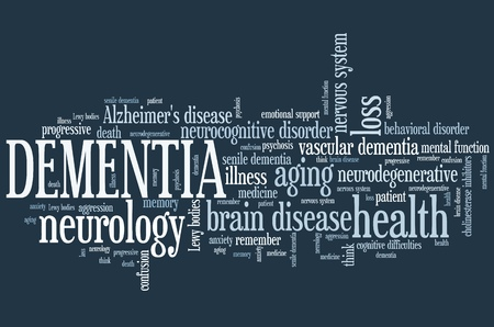 brain aging: Dementia - elderly health concepts word cloud illustration. Word collage concept. Stock Photo