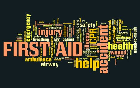 health collage: First aid - emergency health concepts word cloud illustration. Word collage concept. Stock Photo