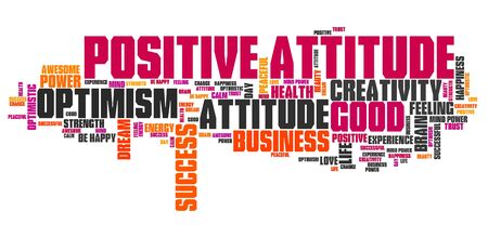 positive attitude: Positive attitude word cloud. Good thinking for business success. Stock Photo