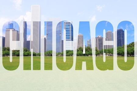 chicago city: Chicago city name - USA travel destination sign.