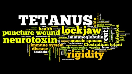 infected: Tetanus - infected wound illness. Word cloud health concept.