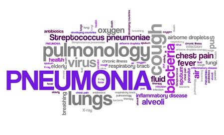 Longontsteking - luchtwegen ziekte met longen infectie. Gezondheidszorg word cloud. Stockfoto