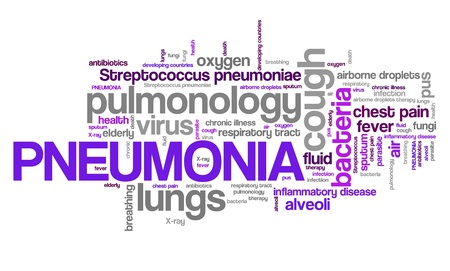 streptococcus: Pneumonia - respiratory tract sickness with lungs infection. Health care word cloud.