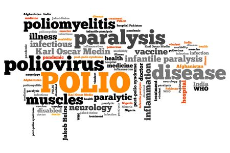paralysis: Polio - Poliomyelitis or infantile paralysis viral sickness. Health care word cloud.