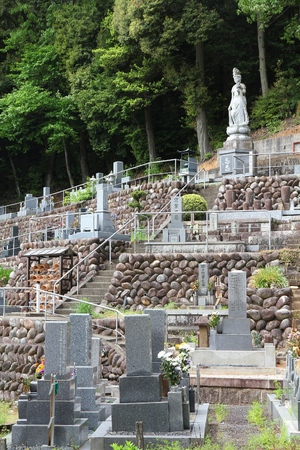 deceased: INUYAMA, JAPAN - MAY 3, 2012: Cemetery in Inuyama, Japan. As of 2007, 99.8 percent of Japanese deceased were cremated.