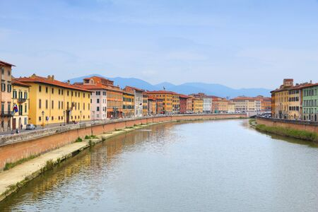 river arno: Pisa cityscape - old town in Tuscany, Italy. River Arno.