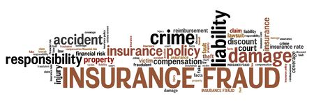 fraud: Insurance fraud - financial crime. Word cloud concept.