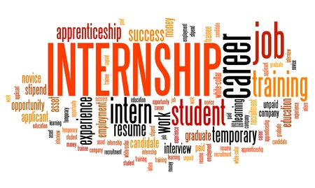 apprenticeship: Internship - career issues and concepts word cloud illustration. Word collage concept. Stock Photo