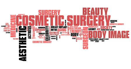 beauty surgery: Cosmetic surgery - beauty improvement. Word cloud concept.