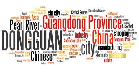 Dongguan City in China. Word cloud concept.