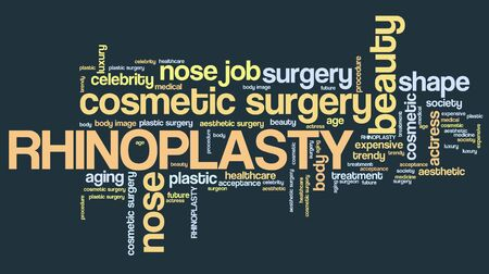 nose job: Rhinoplasty - nose job cosmetic surgery. Word cloud concept.