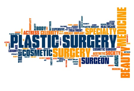 cloud tag: Plastic surgery - beauty improvement. Tag cloud concept.