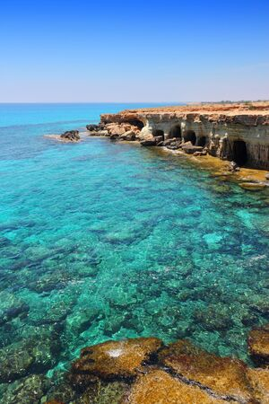 Turquoise sea blissful landscape at Cape Greco in Cyprus. Stock Photo