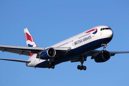 airways: LARNACA, CYPRUS - MAY 17, 2014: British Airways Boeing 767-300ER lands in Larnaca International Airport. British Airways is the flag carrier of the UK and part of Oneworld alliance.