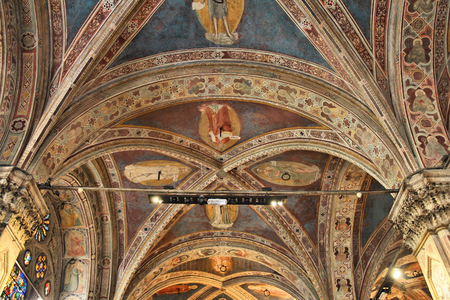 italian fresco: FLORENCE, ITALY - MAY 1, 2015: Interior view of Orsanmichele church in Florence, Italy. The landmark was built in 1337 and is located on Via Calzaiuoli. Editorial