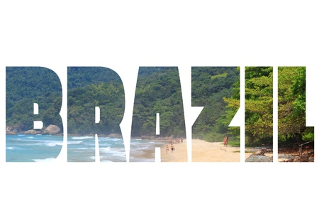 brazil country: Brazil - country name word. Travel destination sign isolated on white background.