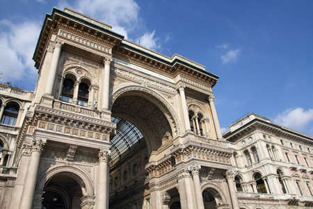 vittorio: Milan, Italy. Galleria Vittorio Emanuele II - old luxury shopping gallery.